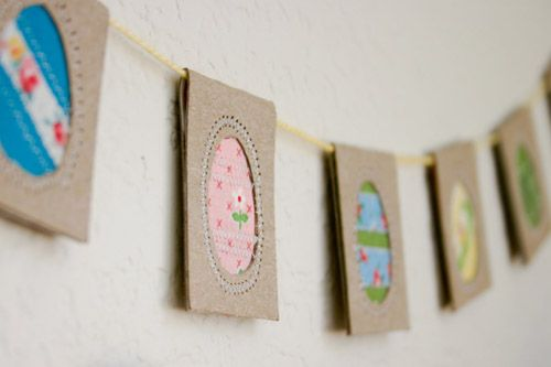 upcycled egg bunting from Anne Weil http://www.flaxandtwine.blogspot.com/ via http://poppytalk.blogspot.com/
