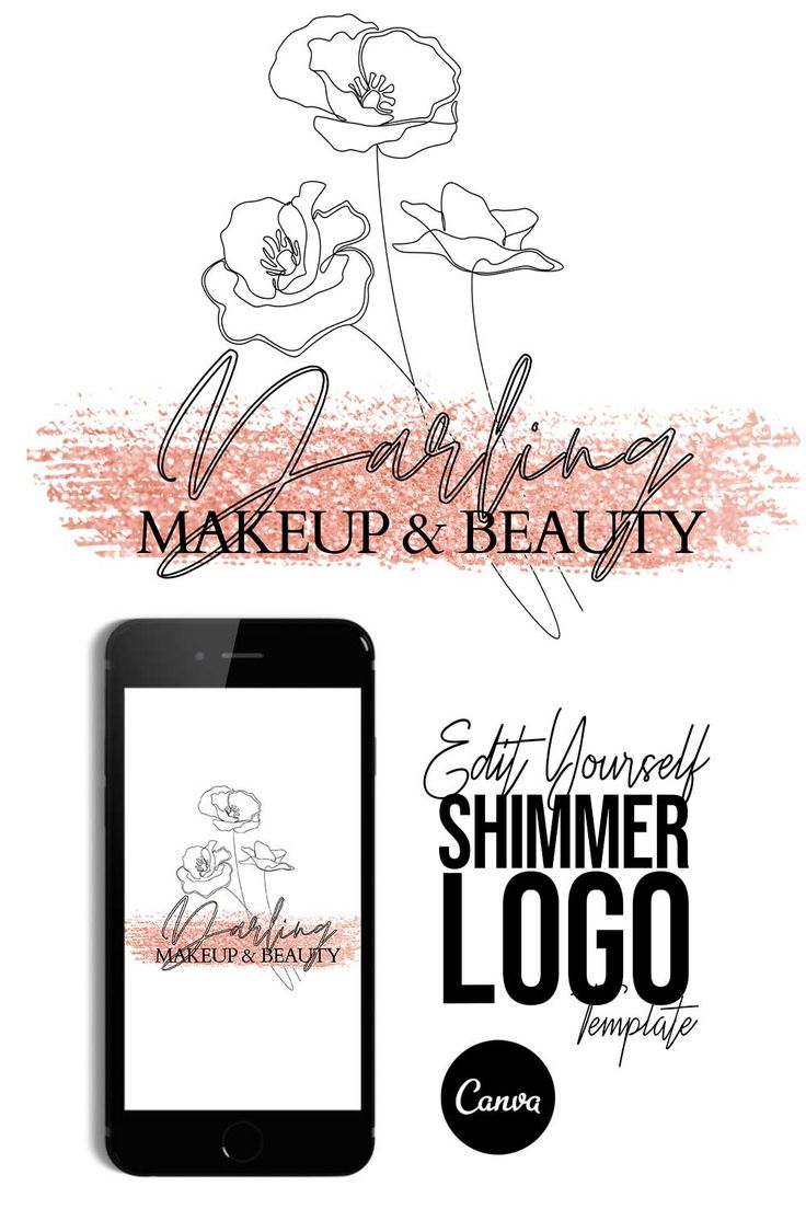 Glitter LOGO Template CANVA TEMPLATE Easy to Edit Etsy