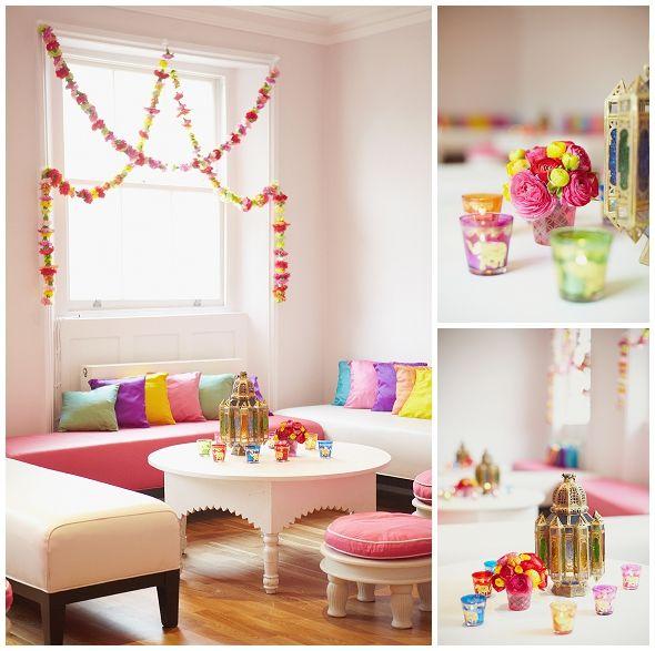 Colourful wedding day decor Bloomsbury Mehndi London Wedding planner coordination Sarah Gawler Photography (7)