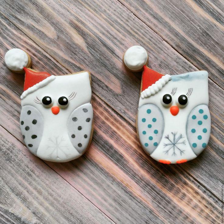 Gingerbread Owls   Купить Имбирный пряник набор Совушки - белый, пряник, пряник расписной, пряник ручной работы