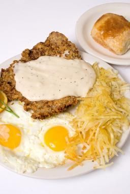 County fried steak and eggs. Breakfast of CHAMPIONS