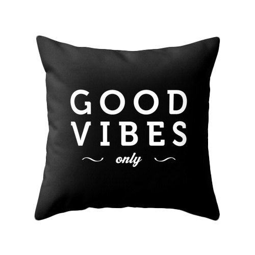 Good vibes only Black typography throw pillow Black by LatteHome
