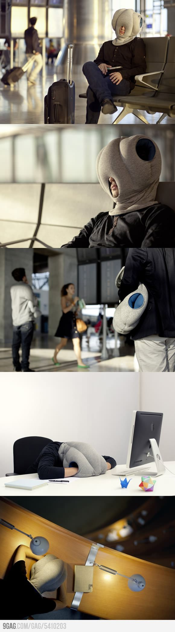 Ostrich Pillow allows you to sleep anywhere...:D  I'm still laughing!!!