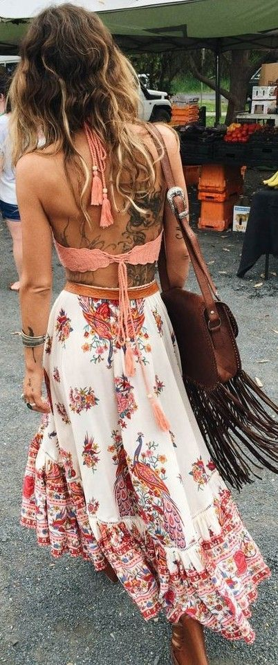 #summer #spellandthegypsycollective #outfits | Pink Crochet Crop - Printed Maxi Skirt