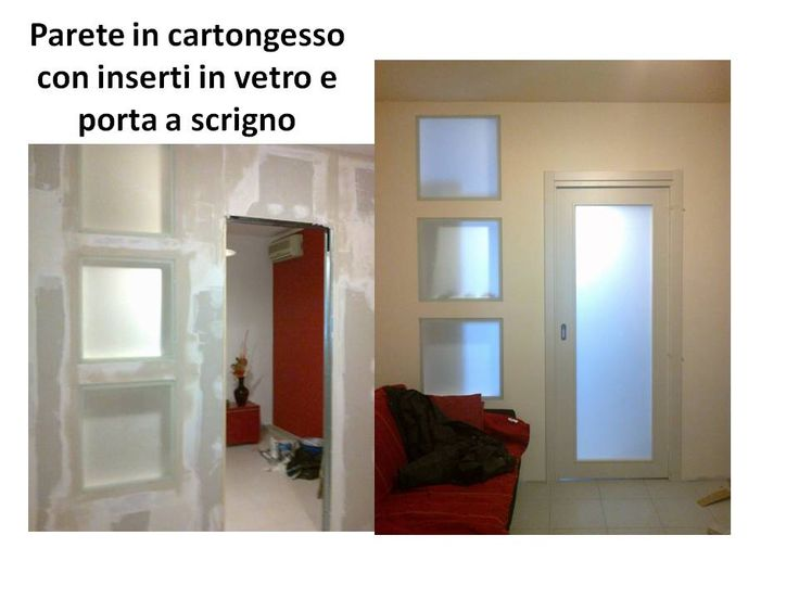 parete in cartongesso con vetri e porta a scrigno