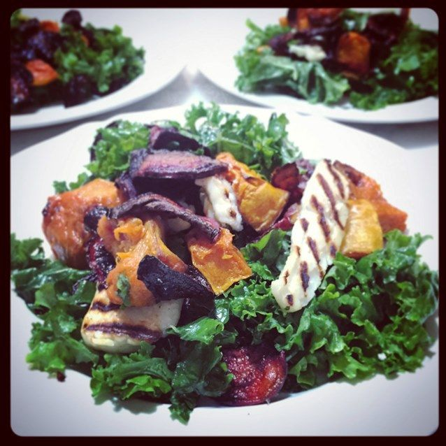 Shredded Kale Salad With Grilled Haloumi, Roast Pumpkin And Beetroot Crisps