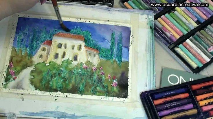 Curso de acuarela . Aprender a pintar con ceras y pasteles grasos