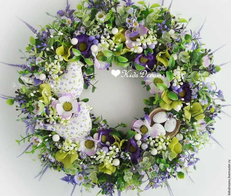 """Купить Веночек """"Утро весны"""" - фиолетовый, зеленый, зелень, сиреневый, венок, венок на дверь, веночек"""