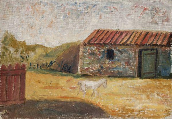 Zagroda wiejska z białym źrebakiem - Tadeusz Makowski