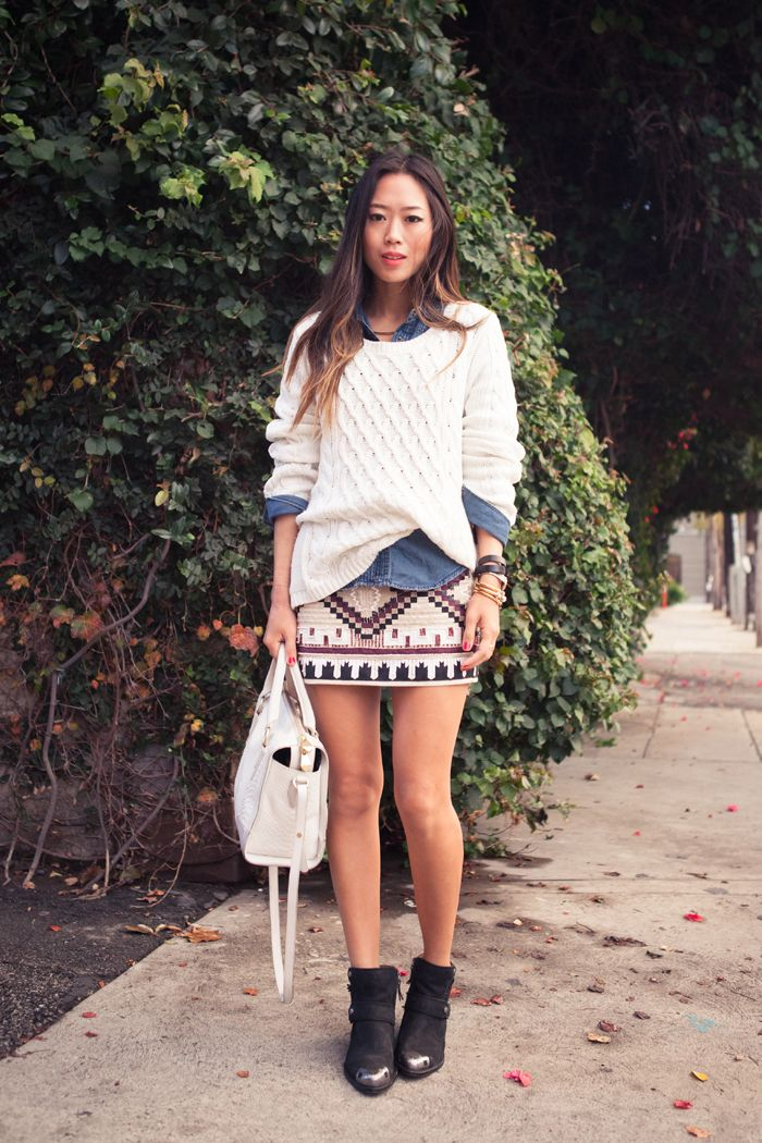 denim shirt under sweater + aztec sequin skirt!! + metal end boots!