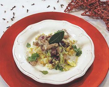 Escangalhado de bacalhau com húmus de grão e couve-flor