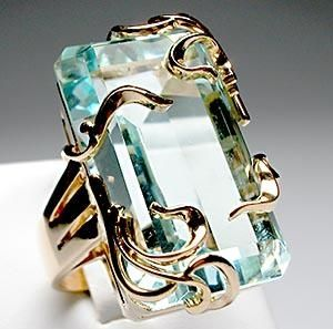 Large Square Cut Aquamarine and Gold Cocktail Ring
