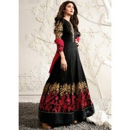 Shilpa Shetty Black Abaya Style Raw Silk Suit