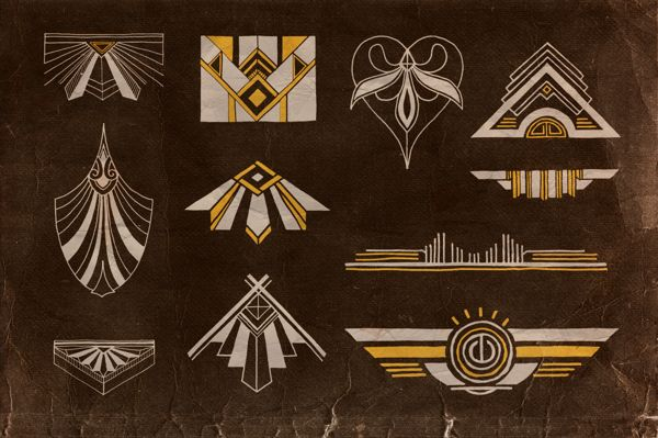 Handwritten artdeco elements v 1 by peter olexa via - Art deco design elements ...
