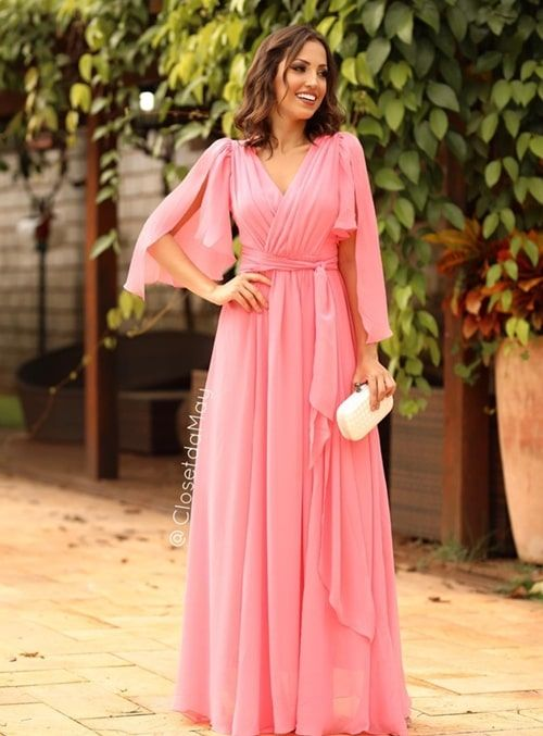 07bbb0ff0bd Rosa, rose e rosa seco: vestidos longos para | Vestidos | Vestido de ...