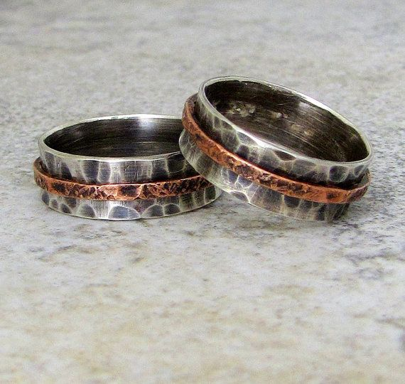 Silver Wedding Bands Hammered Rustic Wedding Rings by SilverSmack, $120.00