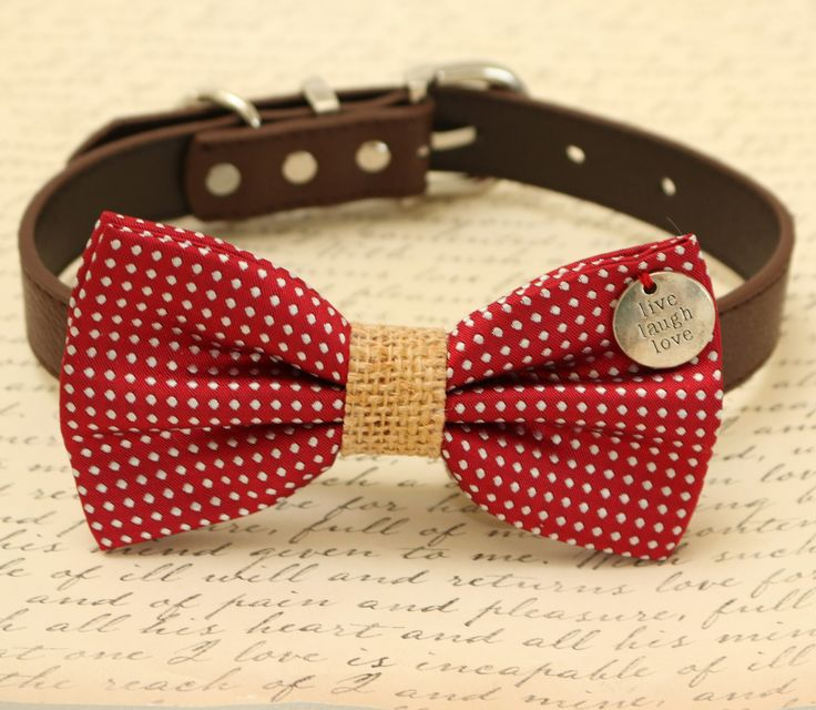 Red Dog Bow Tie Burlap Attached To Brown Collar