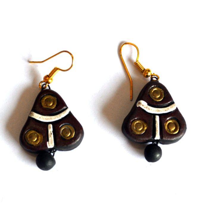 Terracotta Earrings - 3 Dots from Lal10.com