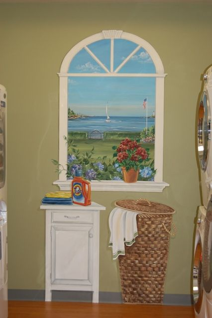 Hand Painted Window Mural with Hand Painted Table and Basket for a Laundry Room by artist Renee' MacMurray