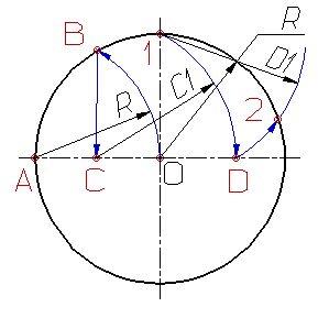 Деление окружности на пять равных частей