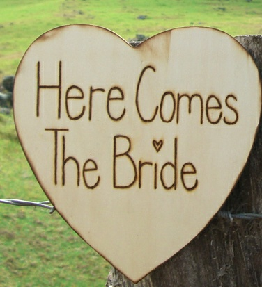 "$14 DIY ""Here Comes the Bride"" sign"