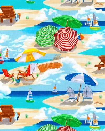 this would be a good backing for my beach quilt Beach Pass - Summer at the Shore - Sky Blue