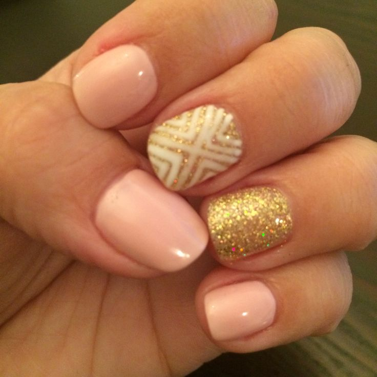Baby pink and gold nails!