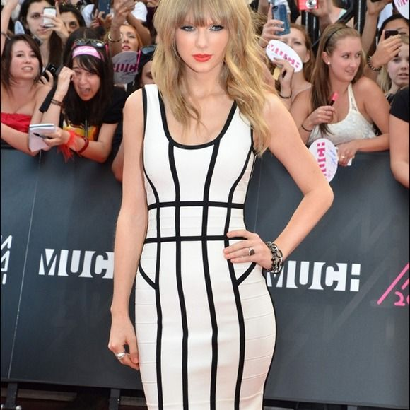 Similar to Taylor swift b&w bodycon dress Really similar to the one taylor swift wore to the red carpet! Brand new black and white body con dress! New with tags Dresses