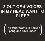 Totally me! And by the way, penguins do have knees! your welcome...