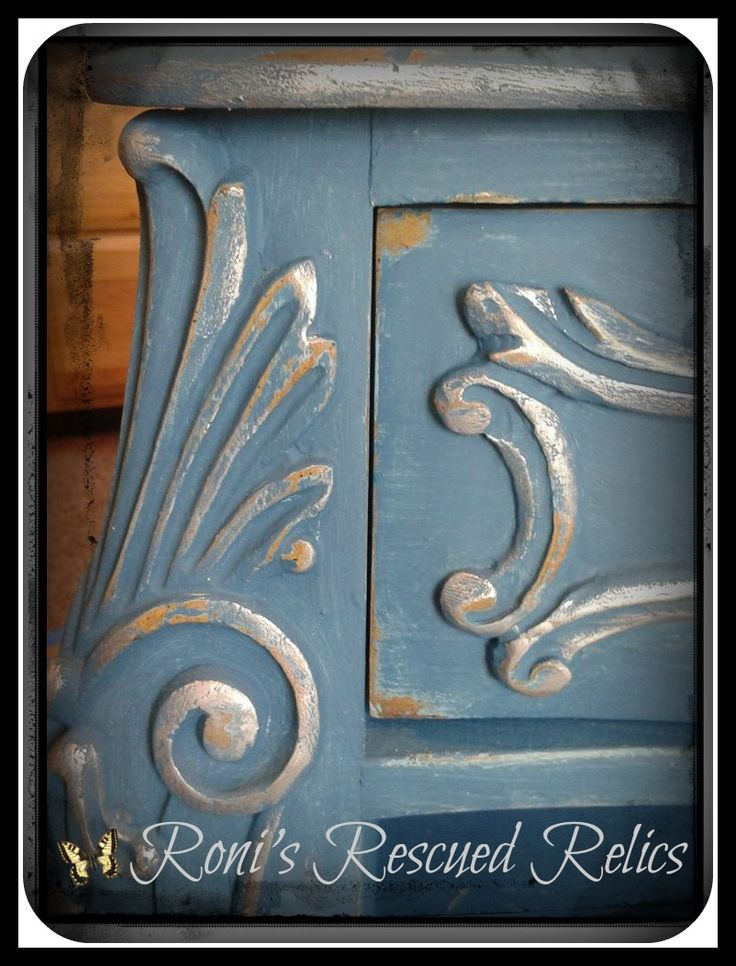 This is a piece that Roni's Rescued Relics did on Facebook...they used Annie Sloan's Chalk Paint Aubusson Blue, distressed it, waxed it, and used silver gilding...Awesome! https://www.facebook.com/RonisRescuedRelics