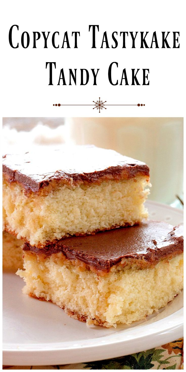 Copycat Tastykake Tandy Cake -  A homemade version of Tastykake Tandy Cakes  made of white cake, topped with a layer of peanut butter and covered in chocolate.  via @https://www.pinterest.com/BunnysWarmOven/bunnys-warm-oven/