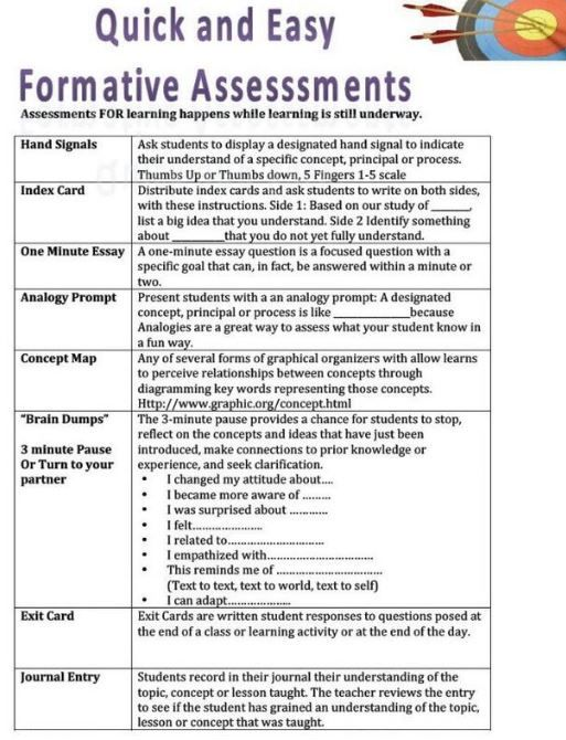 Quick and Easy Formative Assessments- LARGE