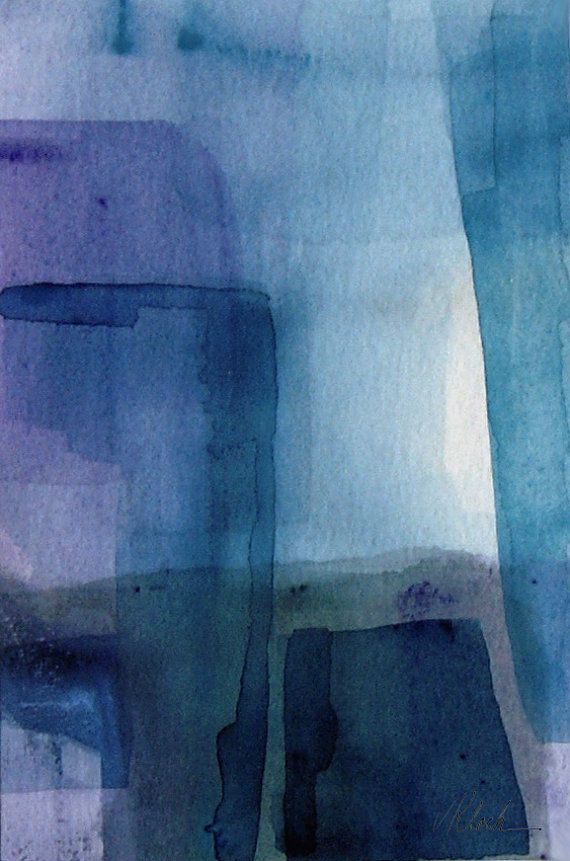 Small watercolor abstract painting Titled 'Around the Corner by VictoriaKloch, $50.00