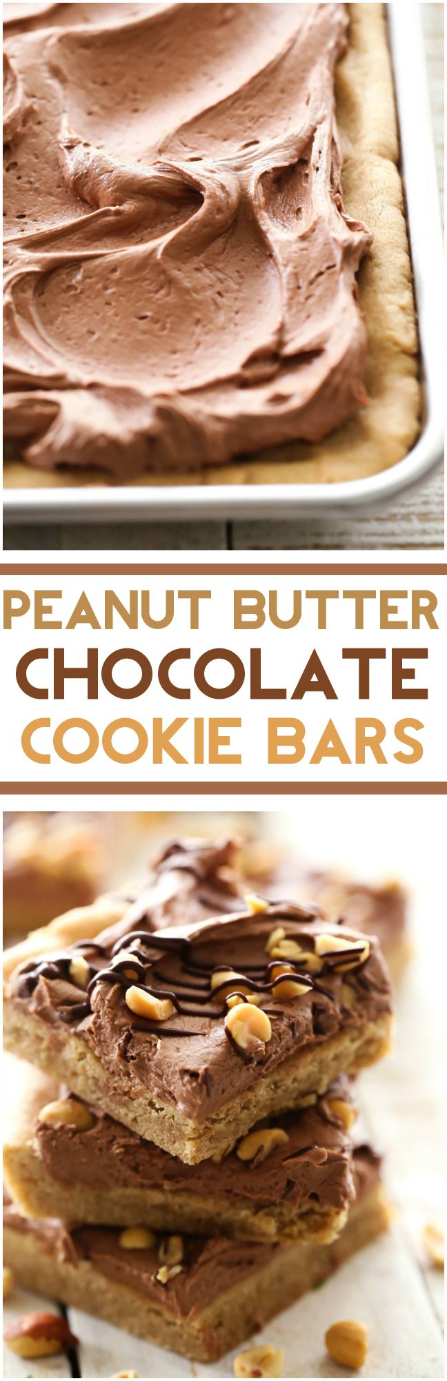 Peanut Butter Chocolate Cookie Bars... This is a peanut butter-chocolate lovers heaven! The cookie bars are cooked to perfection and this frosting recipe is INCREDIBLE!