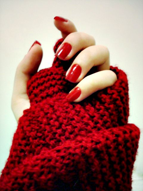 red nails.