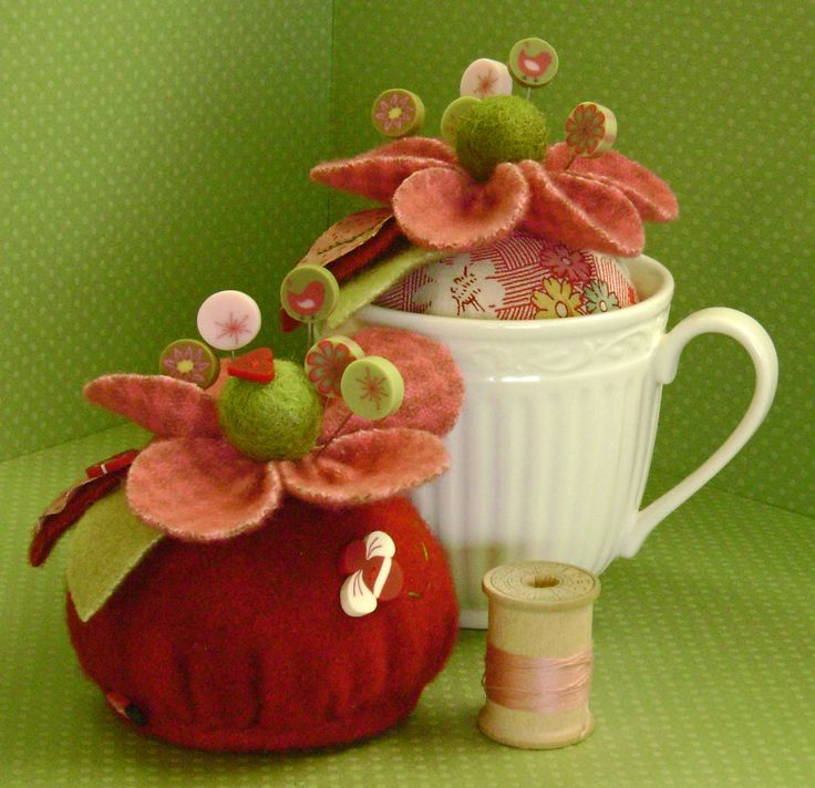 """I heart this beautiful wool felt pincushion kit by Just Another Button Company.  It's called """"Love Me, Love Me Not."""""""