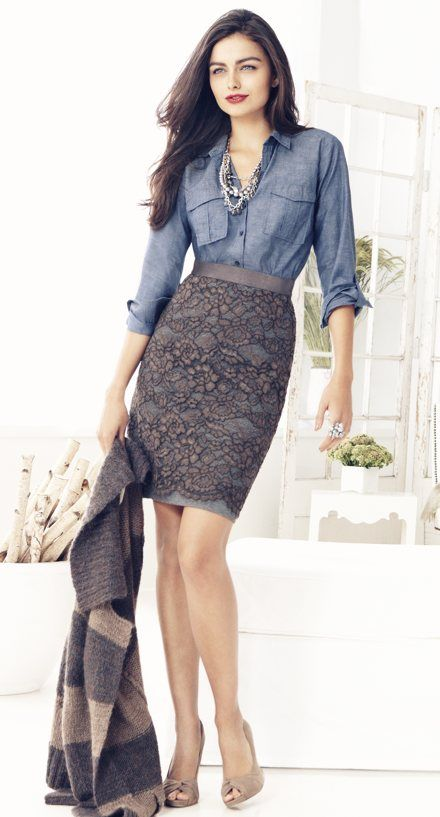 business casualFashion, Style, Chambray Shirts, Denim Shirts, Denim Top, Pencil Skirts, Work Outfit, Business Casual, Lace Skirts