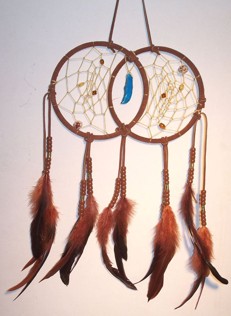 Handcrafted brown double dream catcher dream catchers for How to make a double ring dreamcatcher