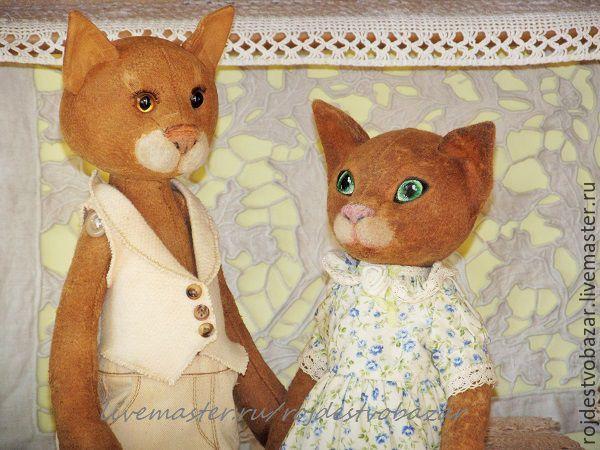 Купить Кот и Кошка - семейная пара, друзья тедди, состаренный мишка, ретро мишка