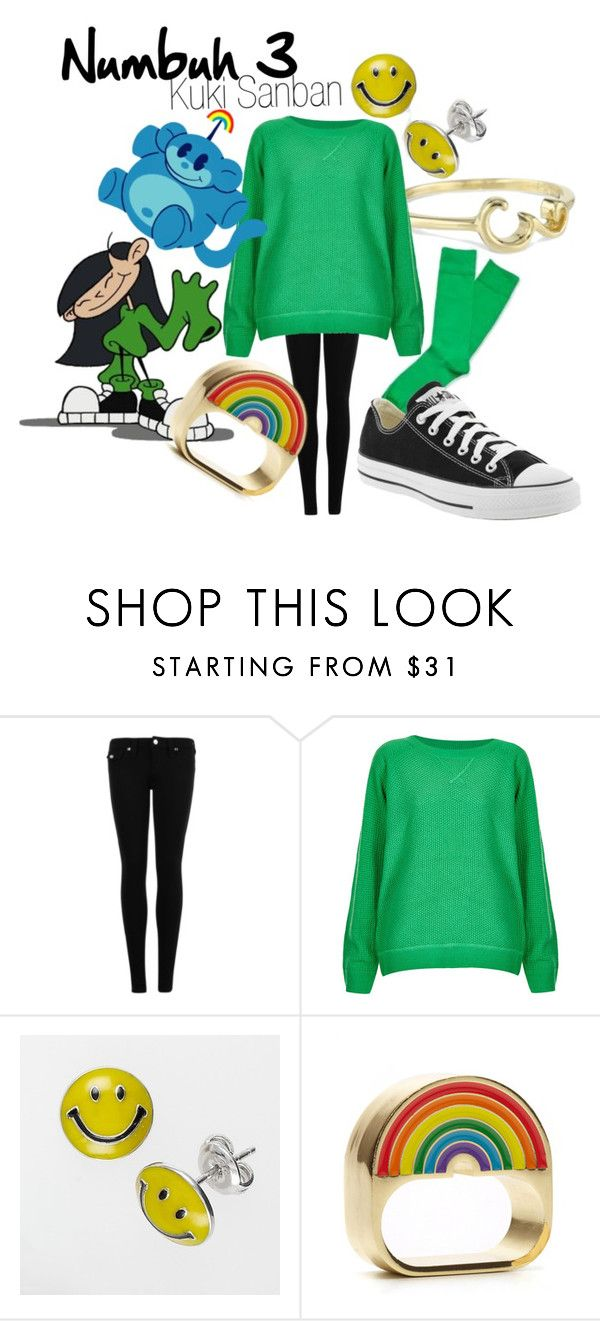 """""""Numbuh 3 (Kuki Sanban) from Codename: Kids Next Door"""" by likeghostsinthesnow ❤ liked on Polyvore featuring True Religion, Topshop, Converse, kawaii, animated, character, cartoon, smiley face, show and kuki sanban"""