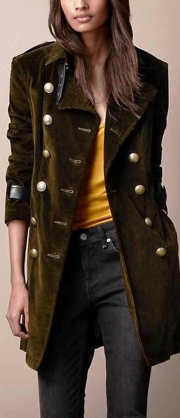 Burberry | Leather cuff trench coat.