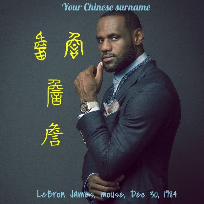 LeBron James' most well known Chinese surname is 詹, which meant a talker. The character looks like a person talking 言 in the cave 穴. Do you think James is a talker? Leave your comment. James was born in rat year.