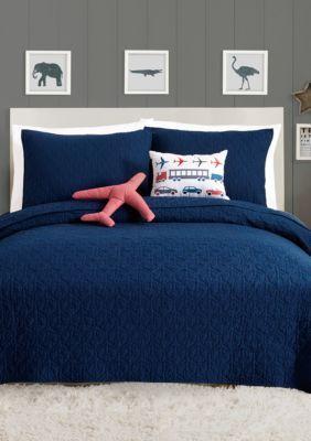 Urban Playground  Airplane Quilt Set - Blue - Queen Quilt, 2 Shams, 2 Dec Pillows