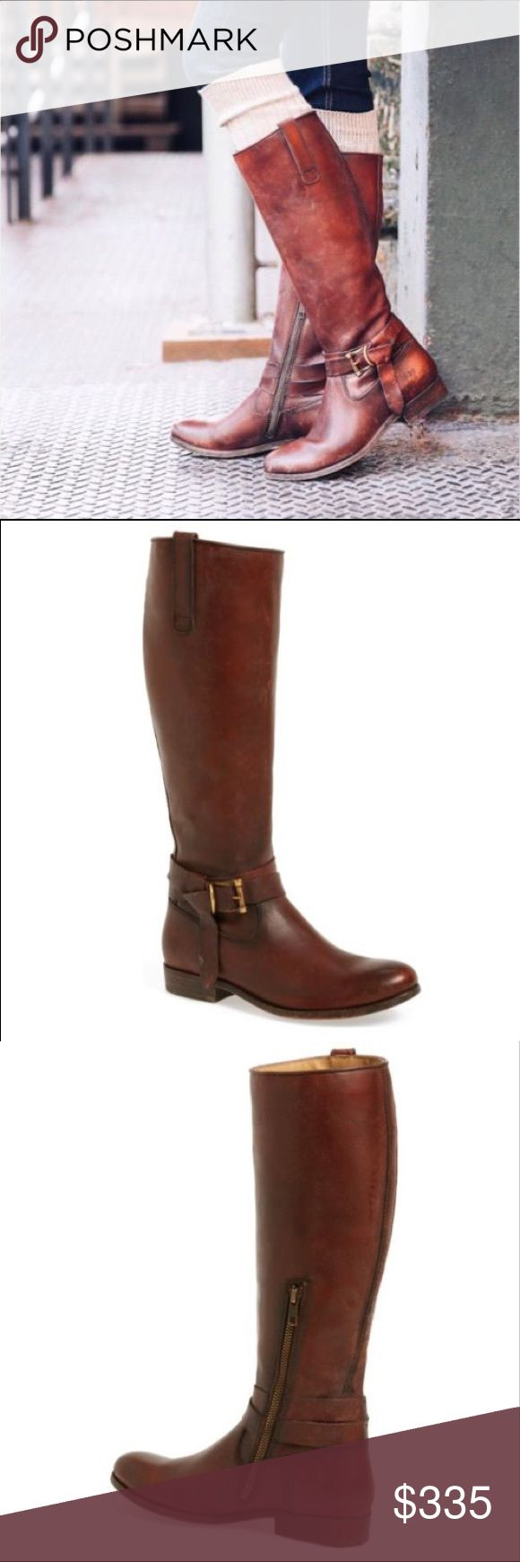 """NEW Frye Melissa Knotted Redwood Boots A leather knot with a brushed metal buckle lends on trend style to a Frye riding boot bench crafted from rich grain leather that gets softer and slouchier with wear. A pull on tab tops the sleek  silhouette, making it quick to get on and off.  1"""" heel. 15"""" boot shaft. 14 1/4"""" circumference. Side zip closure. Leather upper, lining, sole. Frye Shoes Heeled Boots"""