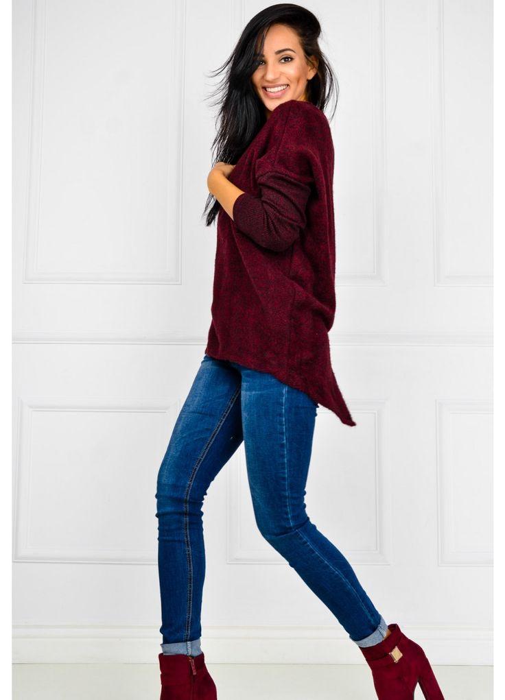 Miękki sweter z rozciętym tyłem