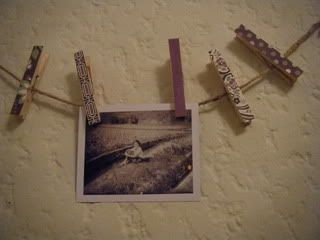 Clothespin picture holder. Cute and simple!