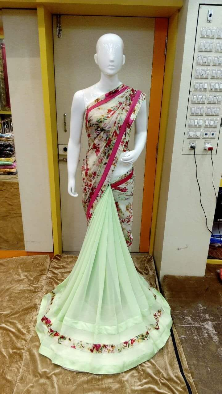 Here is the latest georgette saree with embroidery work with velvet border.These are fast moving sarees in this we...