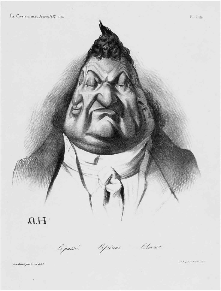 """Daumier """"Passé, présent, avenir"""" /   """"Przeszłość-teraźniejszość-przyszłość-caricature of Ludwika Filipa  wikimedia.org"""