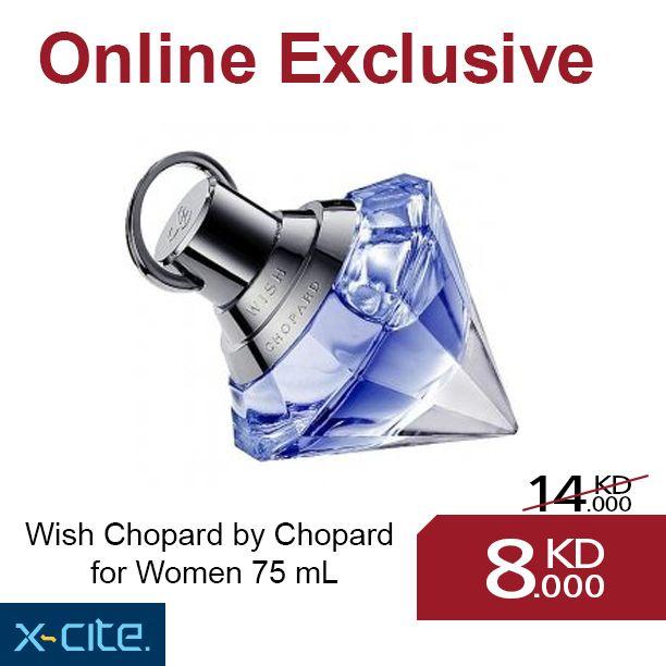 Wish Chopard by Chopard for Women 75 mL Eau de parfum available online for 8KD  http://www.xcite.com/perfumes/women/wish-chopard-by-chopard-for-women-75-ml-eau-de-parfum.html