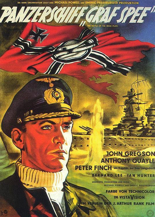 """""""La Batalla del Rio de la Plata"""" (1956). Es una excelente película británica, que cuenta con una cuidada realización, las peripecias  del buque alemán Admiral Graf Spee."""